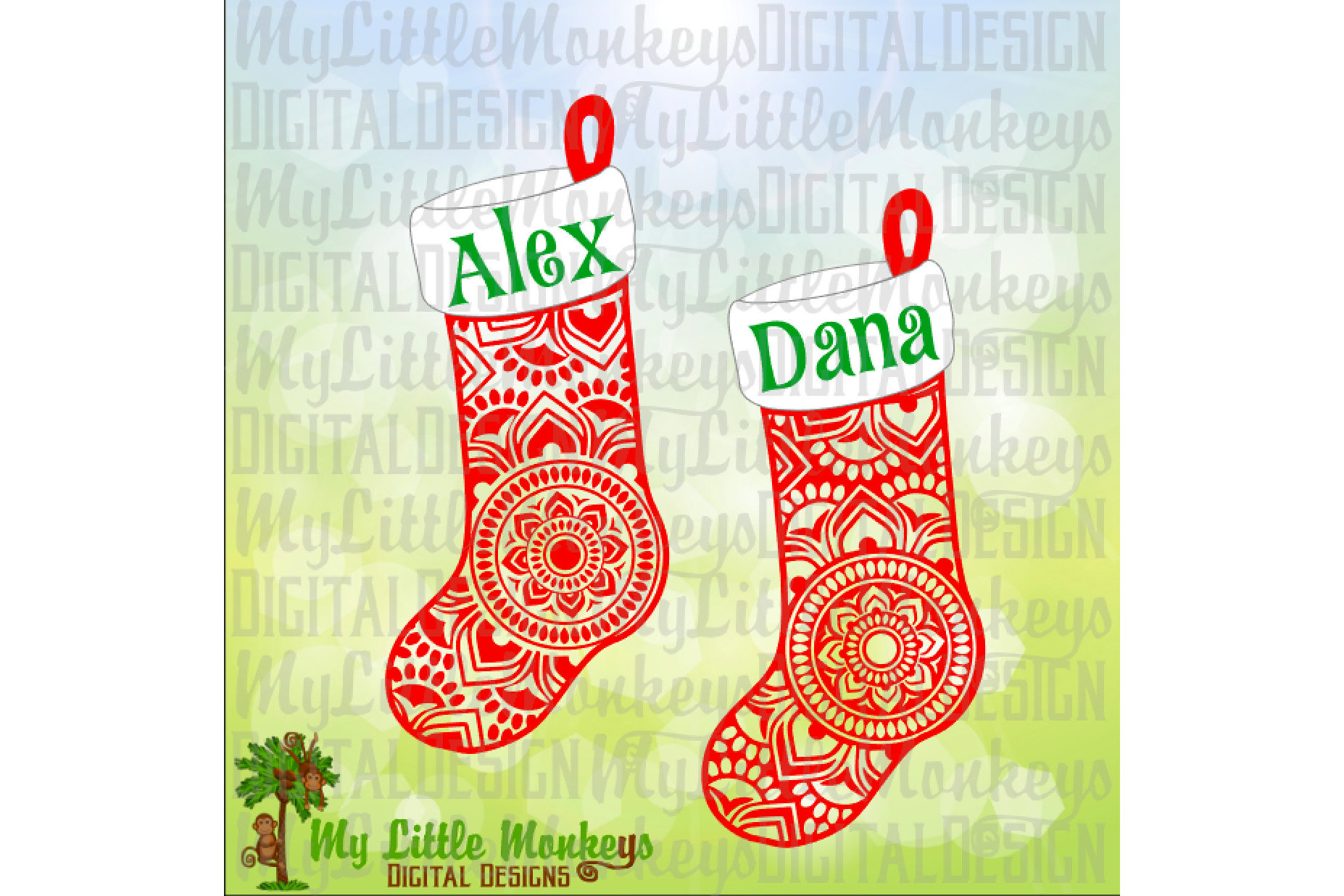 Mandala Christmas Stockings example image 1