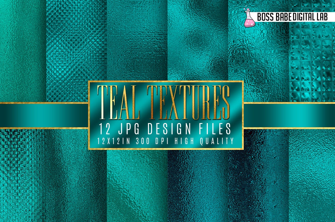 Teal Texture Digital Papers example image 1