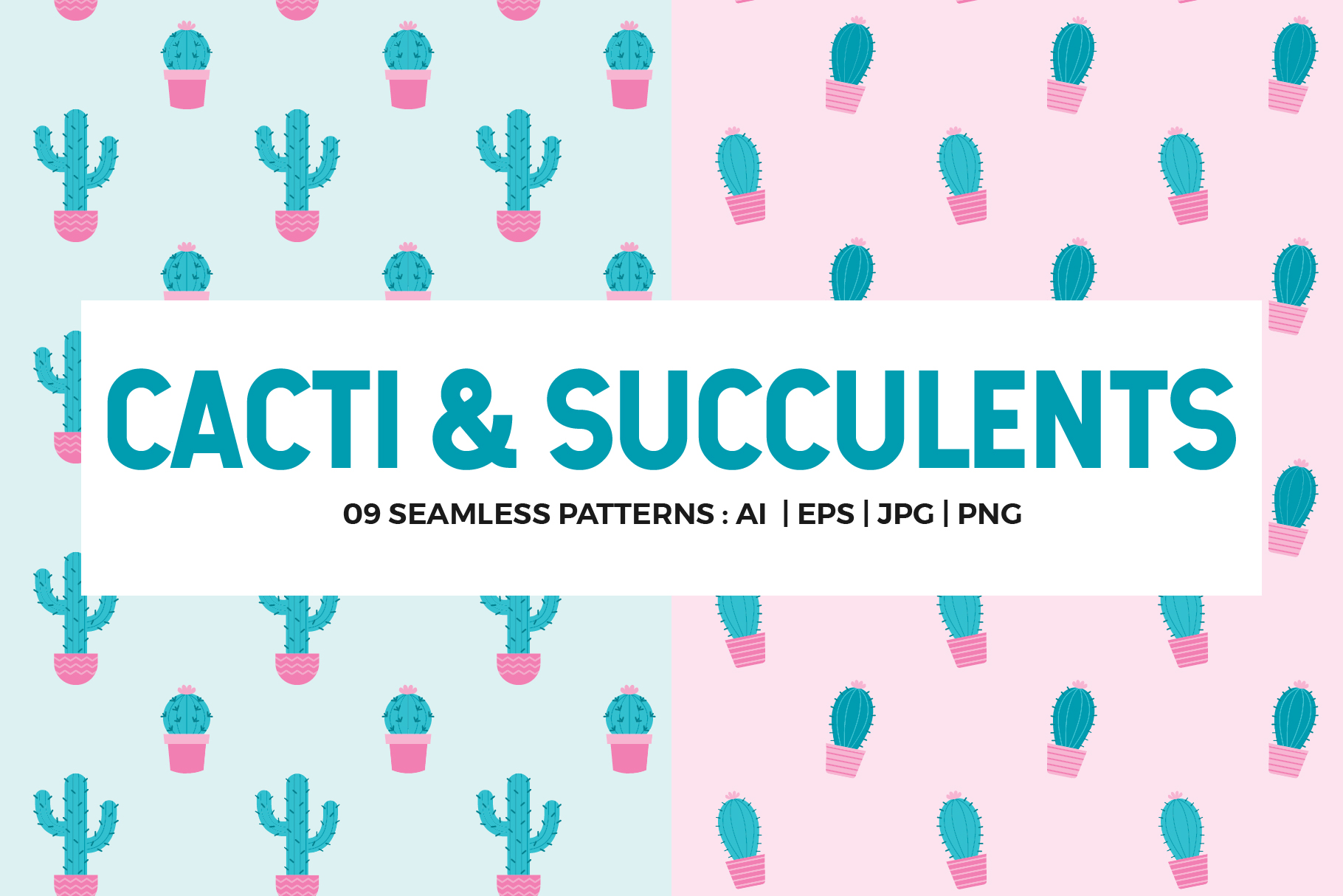 Cactus Seamless Patterns Collection example image 1