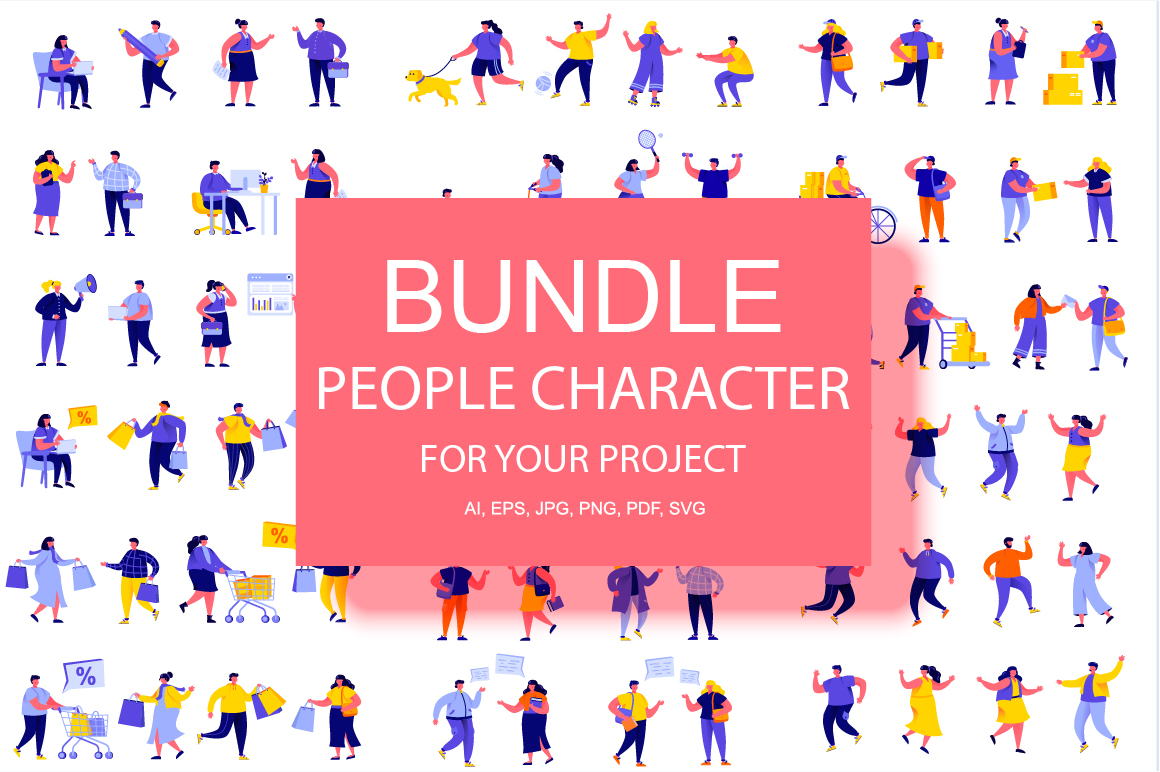 Bundle Flat People Character Kit example image 1