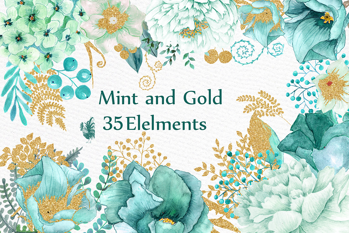 Gold Mint flowers clipart example image 1