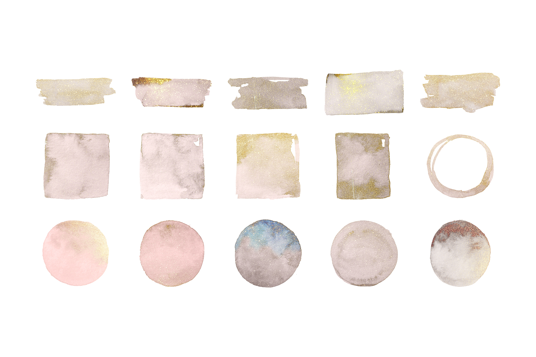 Watercolor Gold Sparkle Sprinkled Shapes example image 3
