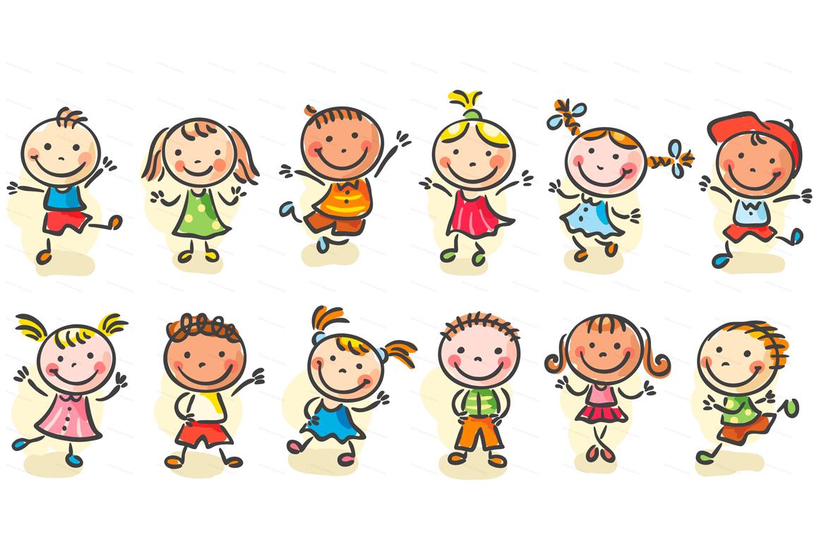 Happy Cartoon Kids Bundle, children doodle, kids doodle example image 23