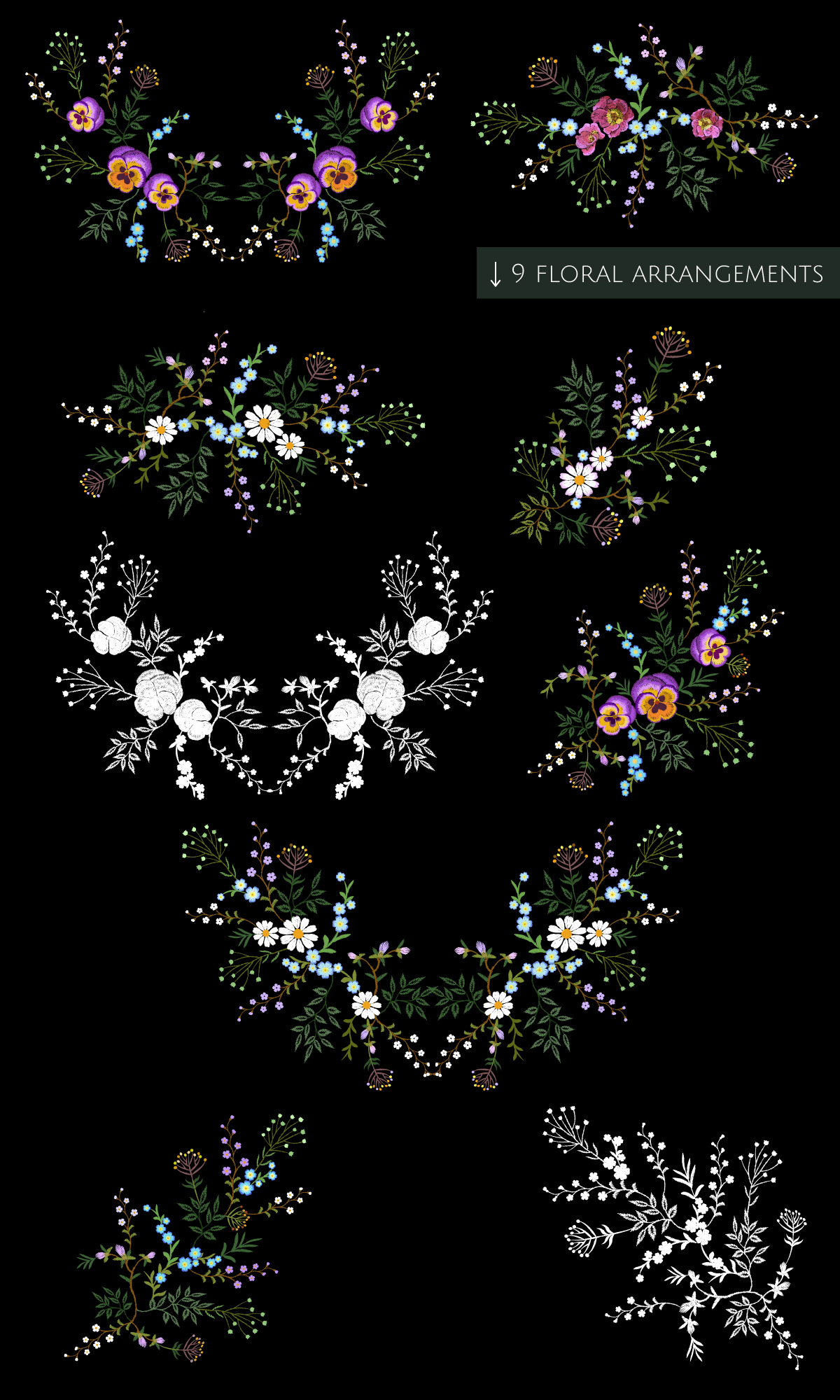Tiny Flowers Vector Embroidery Print example image 6