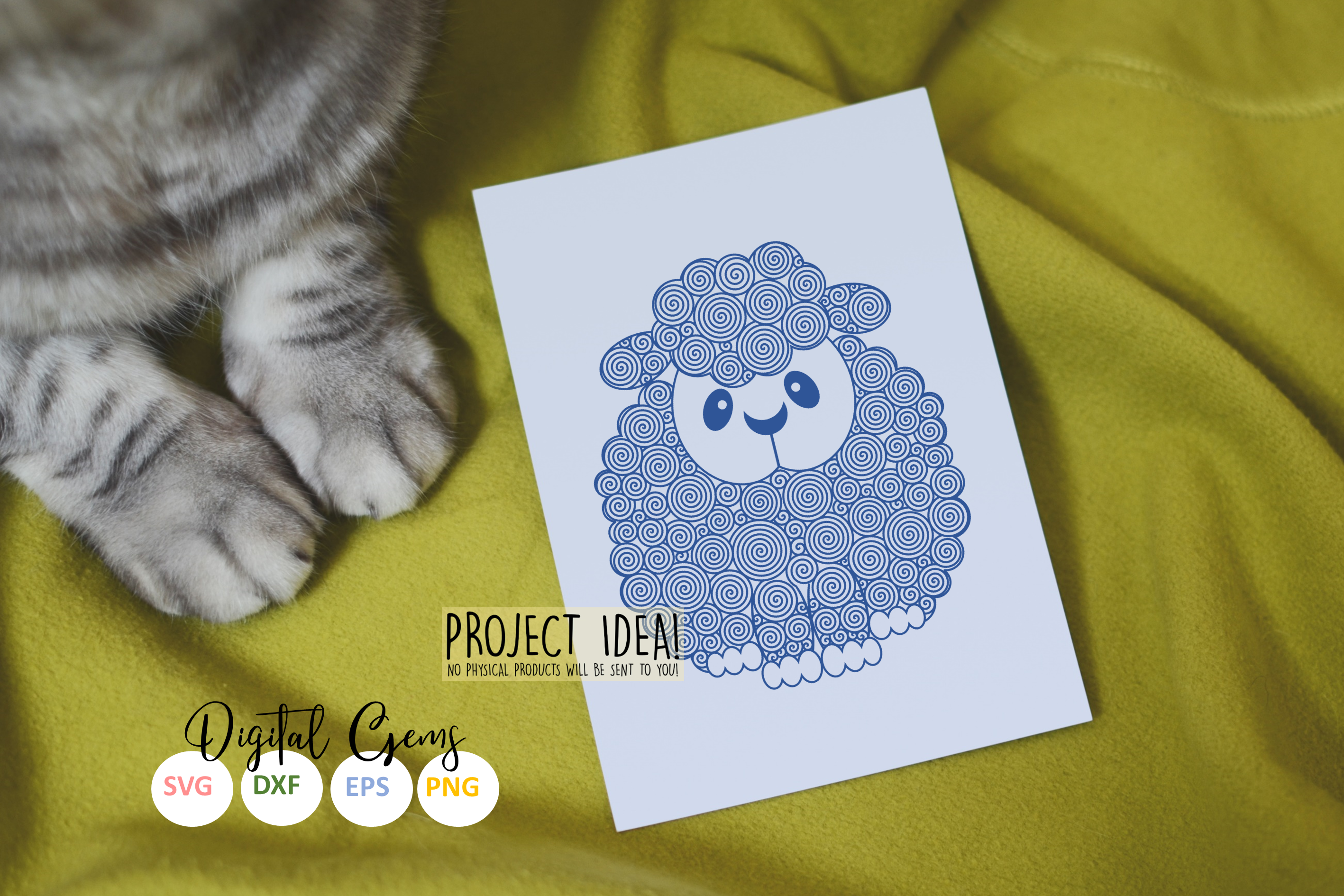 Lamb / Sheep, single line sketch / drawing file. Foil quill example image 3