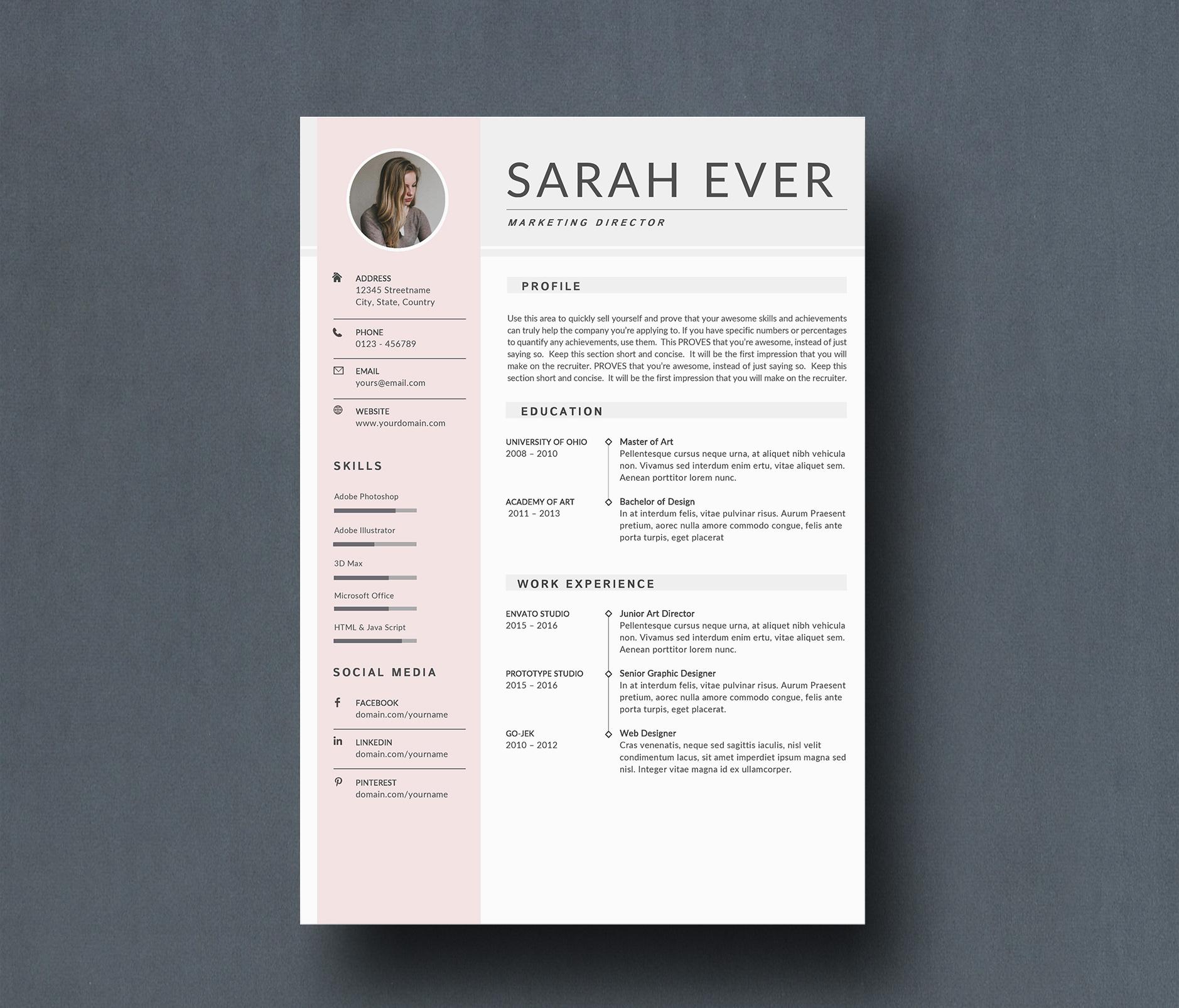 modern simple resume template microsoft word  u0026 google docs