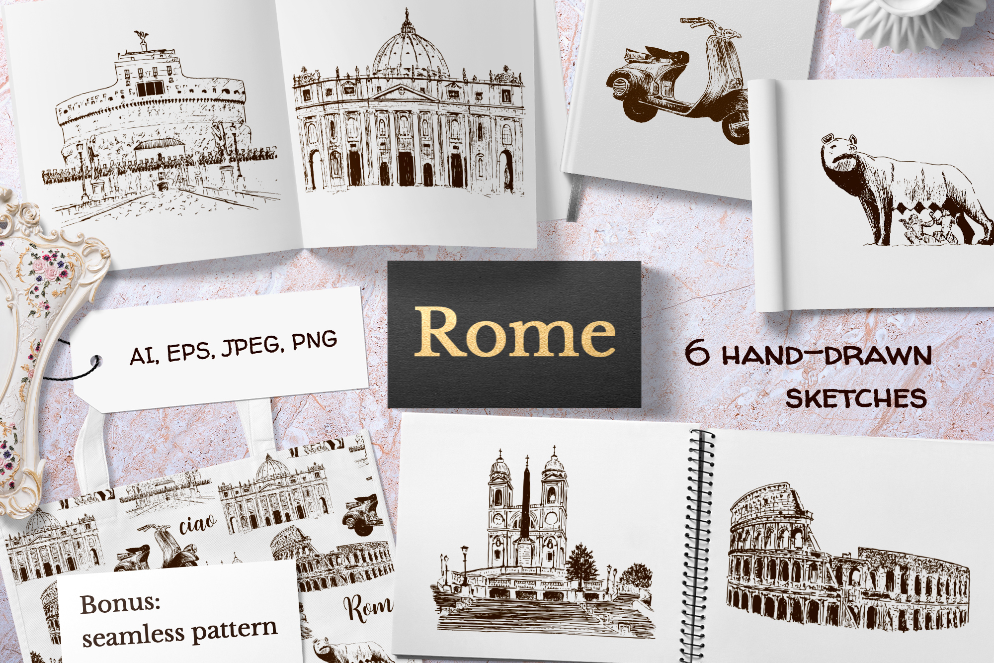 Set of Rome sketches example image 1