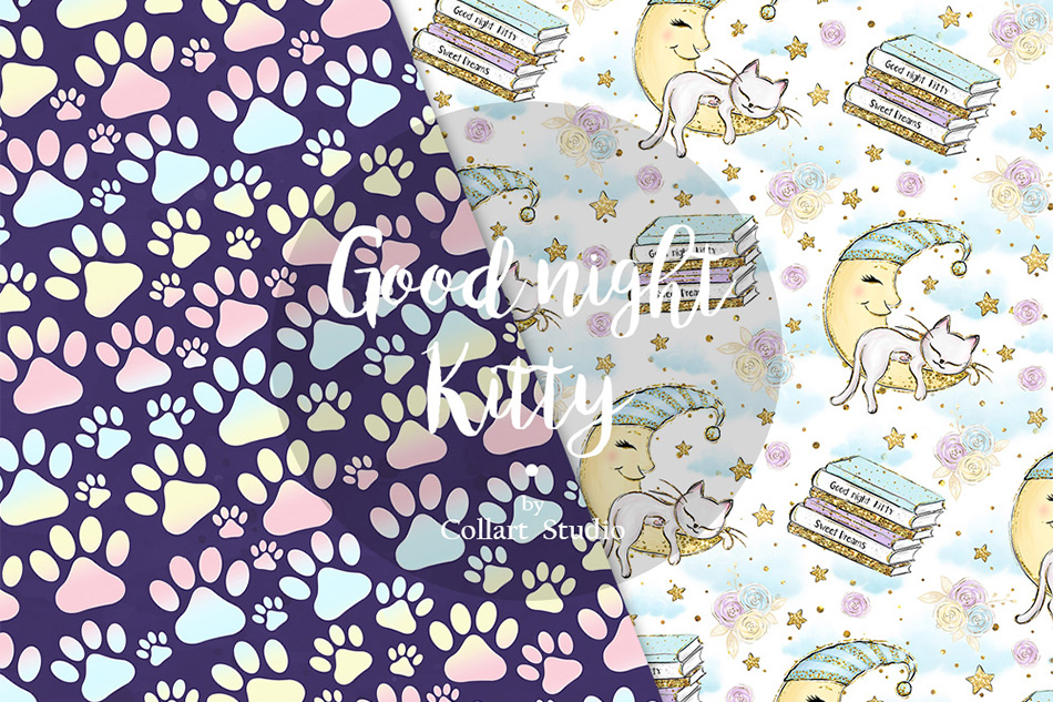 Kitten Digital Paper, Cats Patterns, Sleepy cats, 20 PAPERS example image 7
