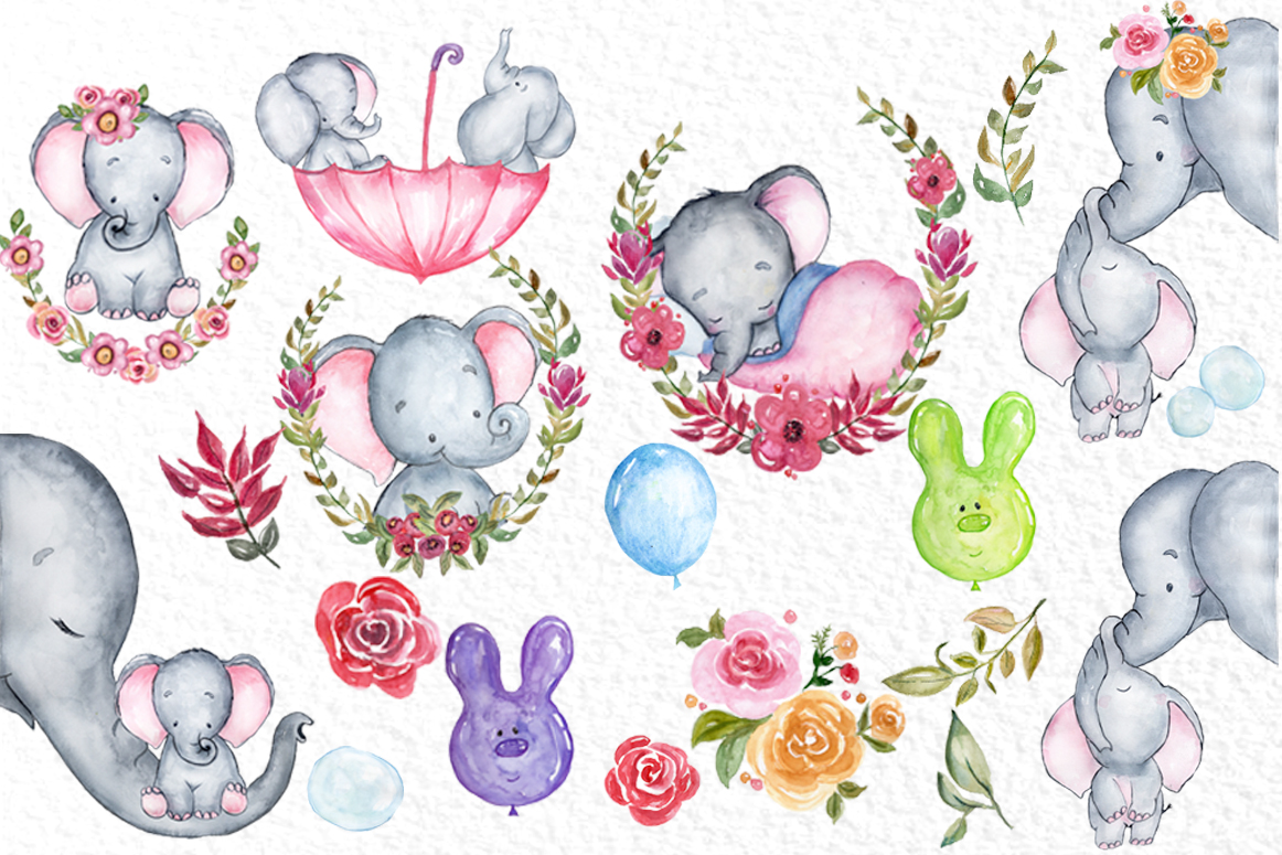 Cute Elephant clipart,WATERCOLOR ANIMALS, Baby shower clipat example image 3