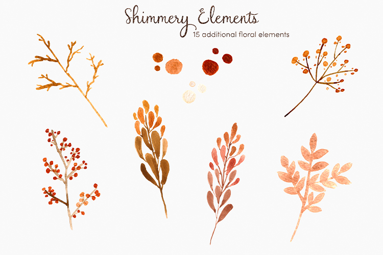Blush & Bashful Blooms - Watercolor Floral Clipart example image 7