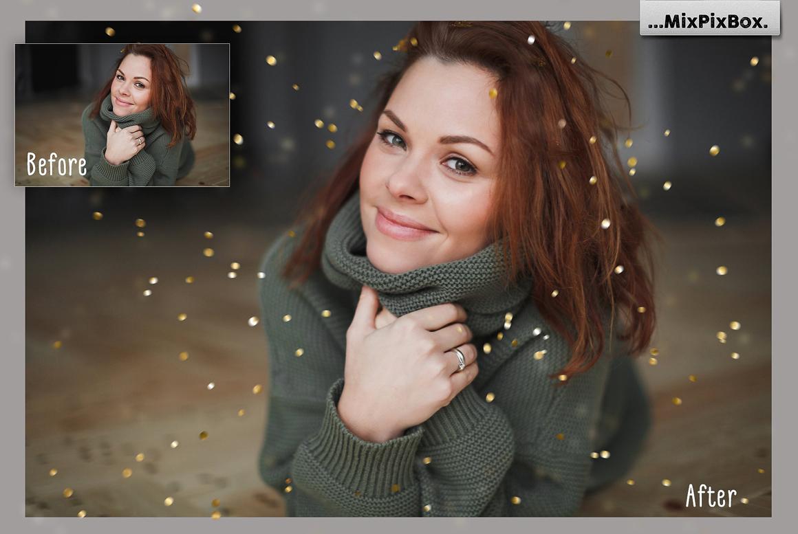 Golden Confetti Photo Overlays example image 9