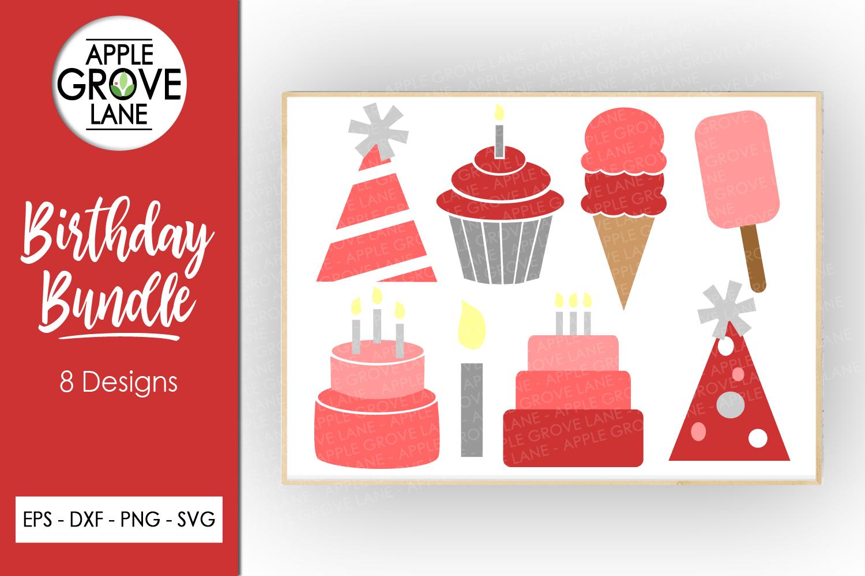 Pink Birthday Svg Bundle - 8 designs included - Svg File example image 1