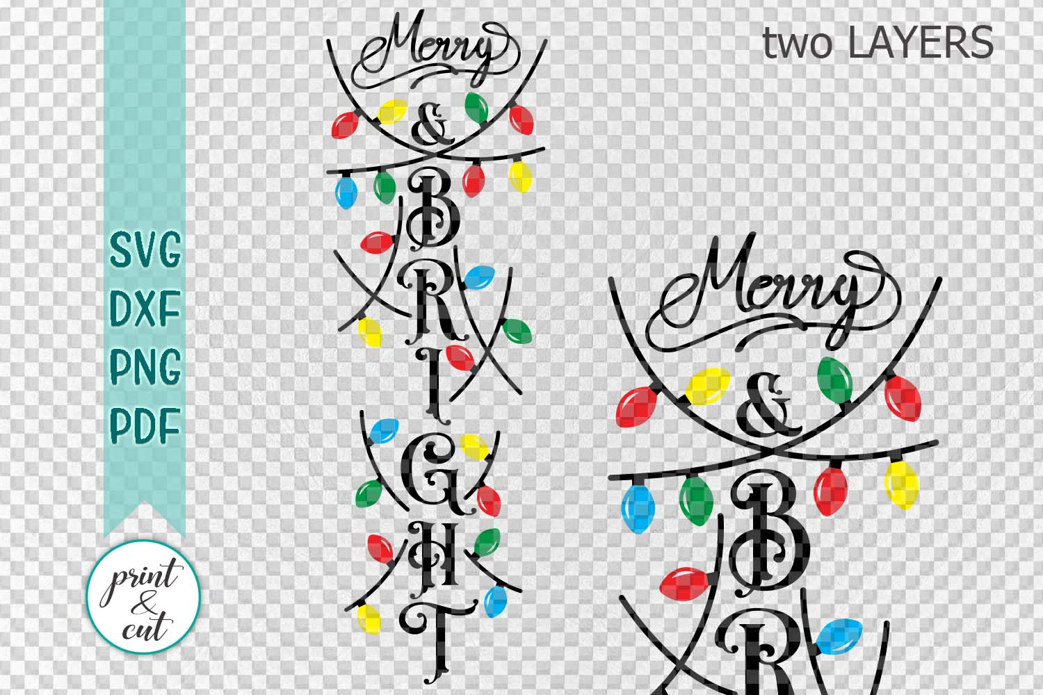 Christmas Merry and Bright vertical porch sign svg for cut example image 2