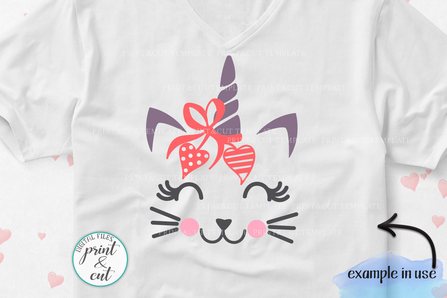 Cat Kitty face bundle with flowers hearts unicorn crown svg example image 4