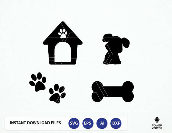 Dog SVG File. Dog Cut File. Dog Png. Dog Cricut. Dog Cameo File. Dog House, Bone, Paw Prints Svg. Dog Vector.  example image 1
