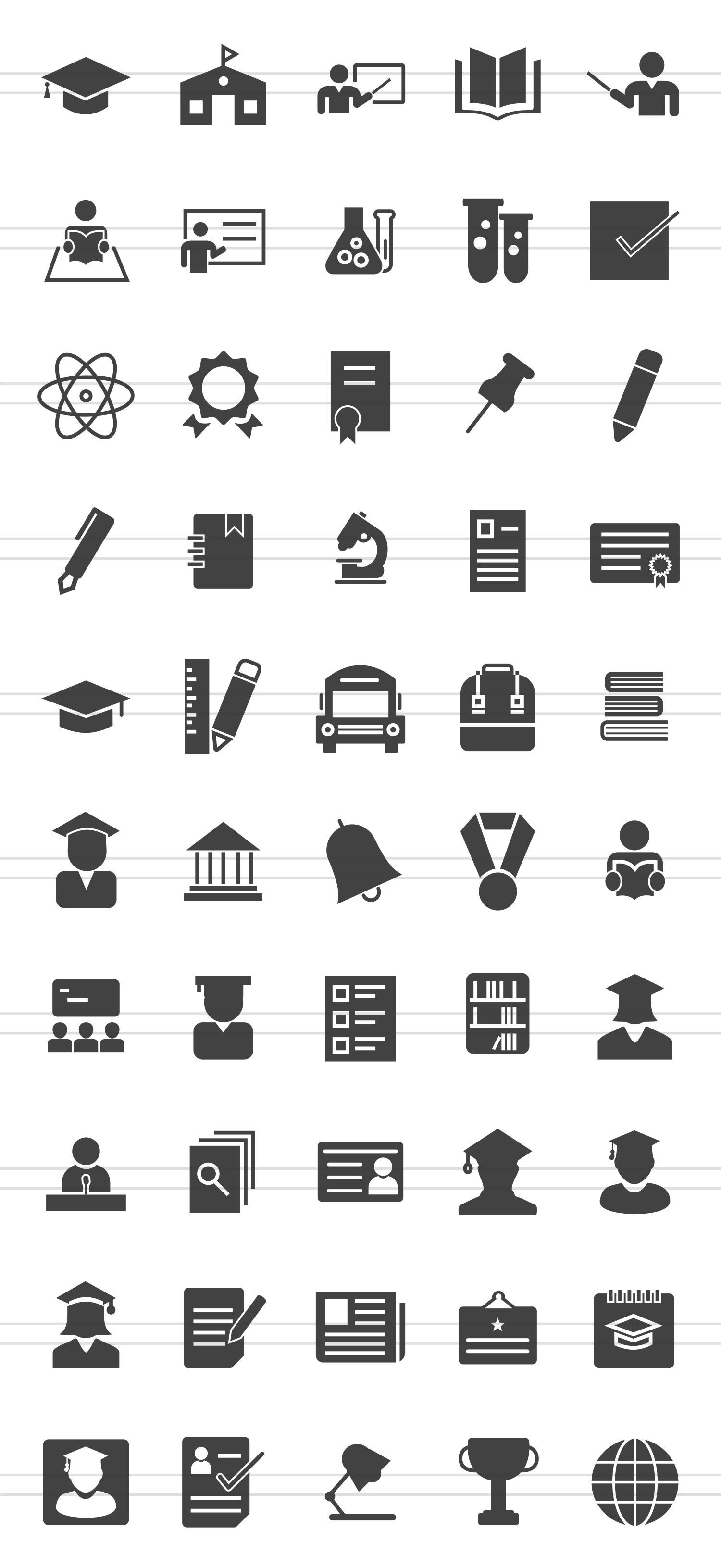 50 Academics Glyph Icons example image 2
