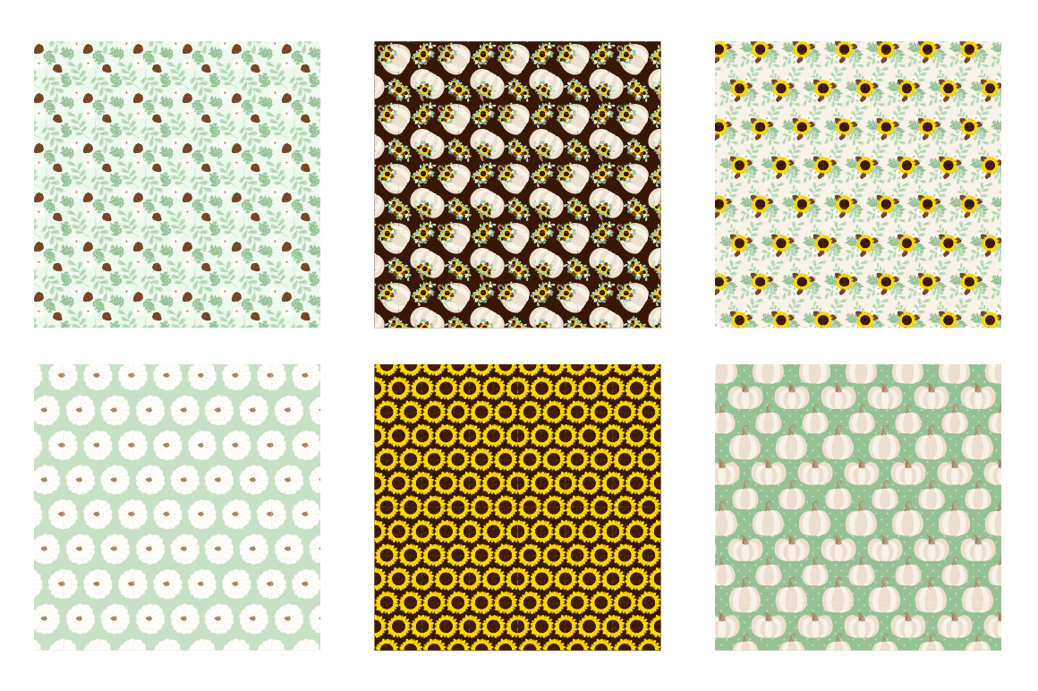 Autumn Floral Pattern collection, vector ai, example image 3
