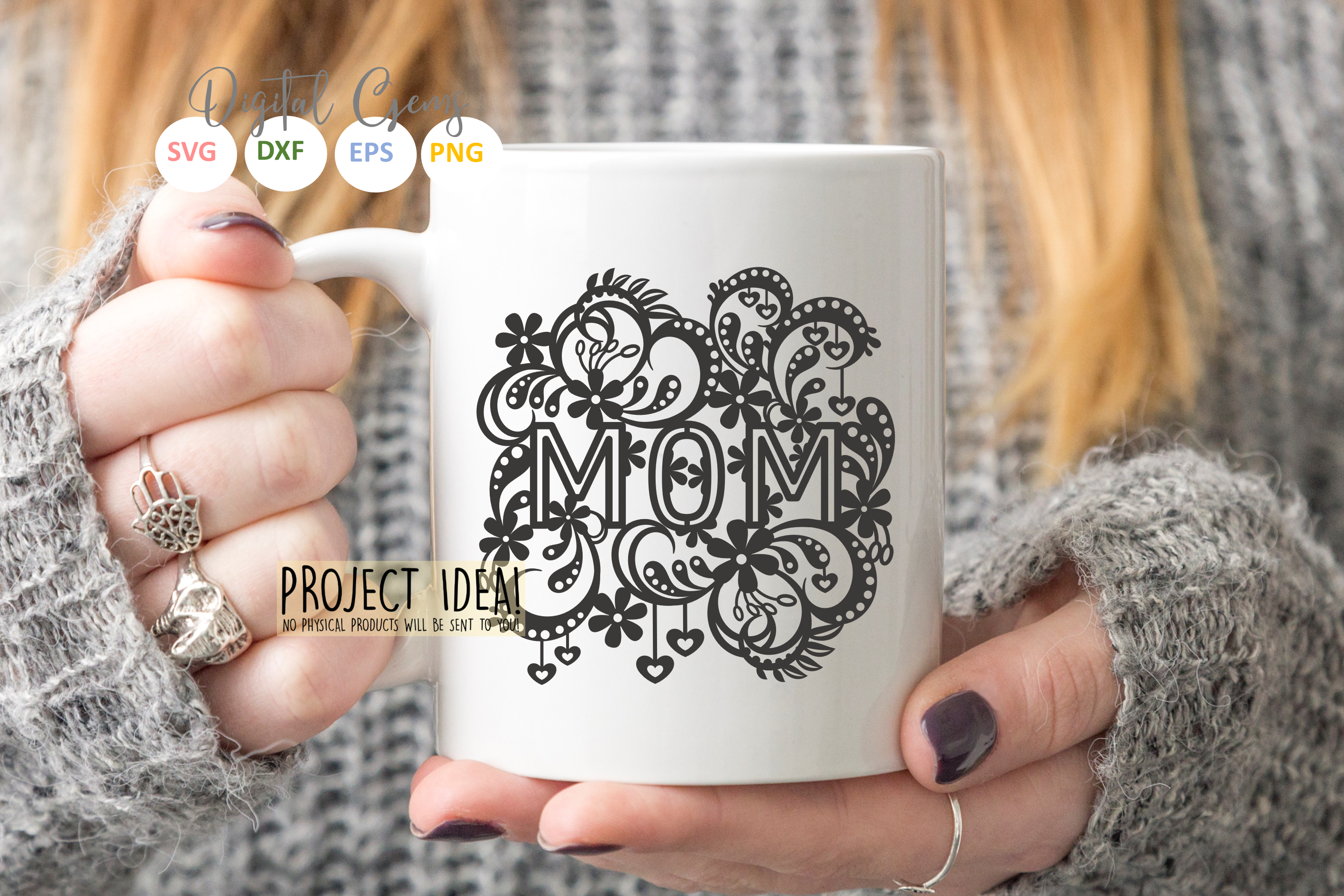Mom paper cut design SVG / DXF / EPS files example image 3