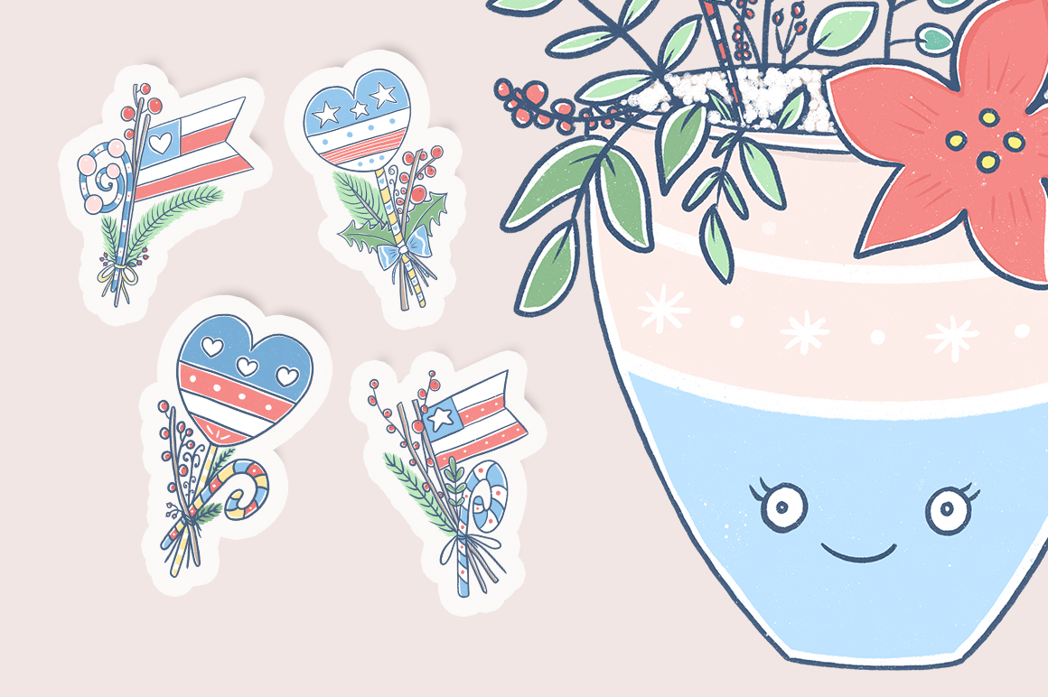 Christmas illustration with American flag. example image 5