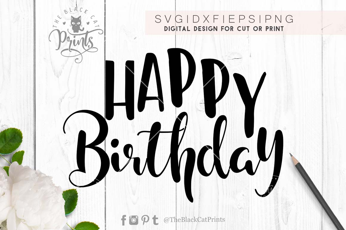 Happy Birthday SVG EPS PNG DXF example image 2