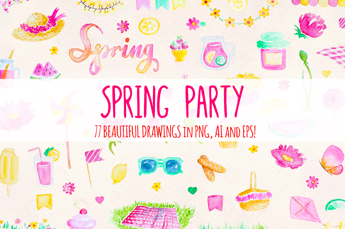 77 Spring Party Pink Lemonade Watercolor Elements example image 1