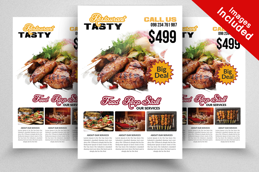 10 Restaurant Flyer Template Bundle example image 2