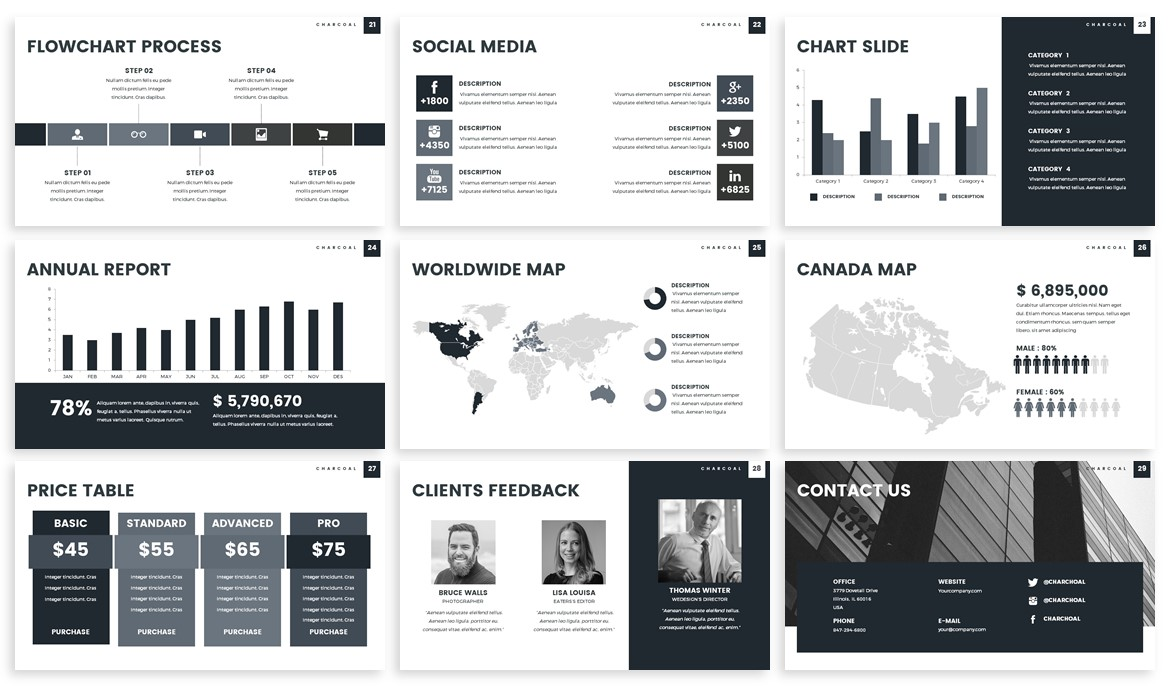 Charcoal - Monochrome Powerpoint Template example image 4