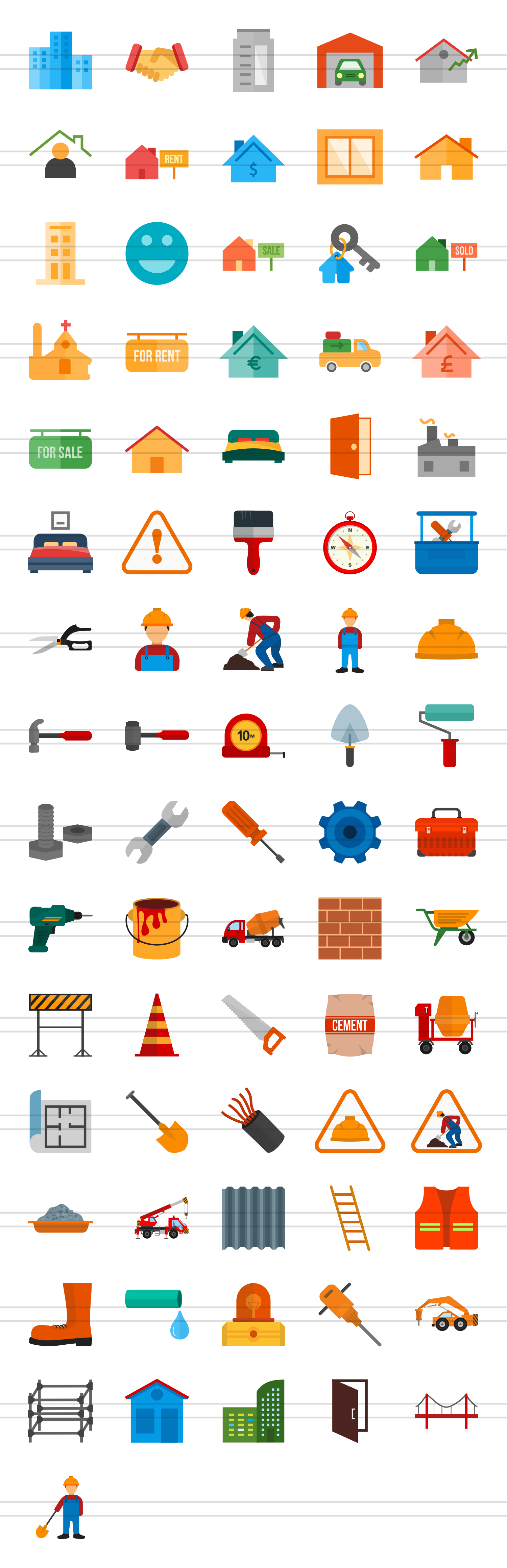 76 Construction Flat Icons example image 2