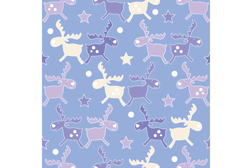 Set of 4 seamless Christmas backgrounds with doodle deers and stars.  example image 4