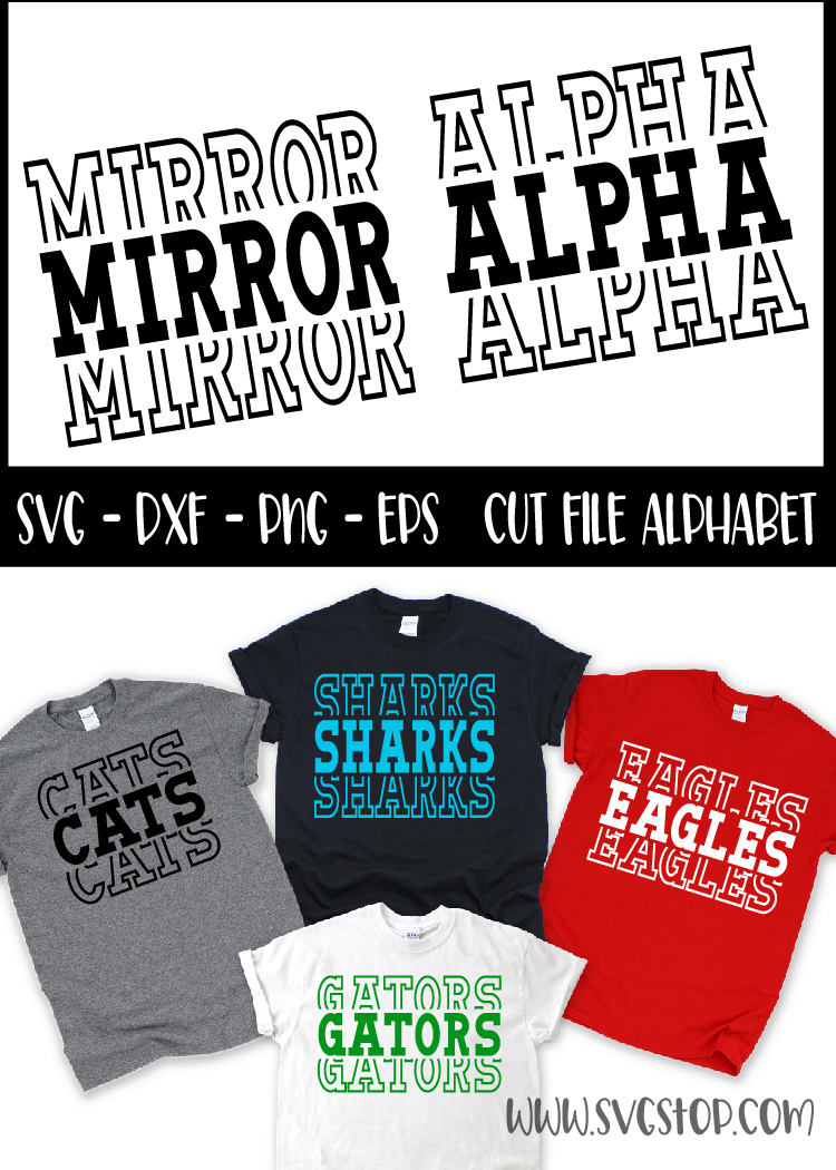 Mirror Alphabet - SVG, PNG, DXF, EPS example image 2