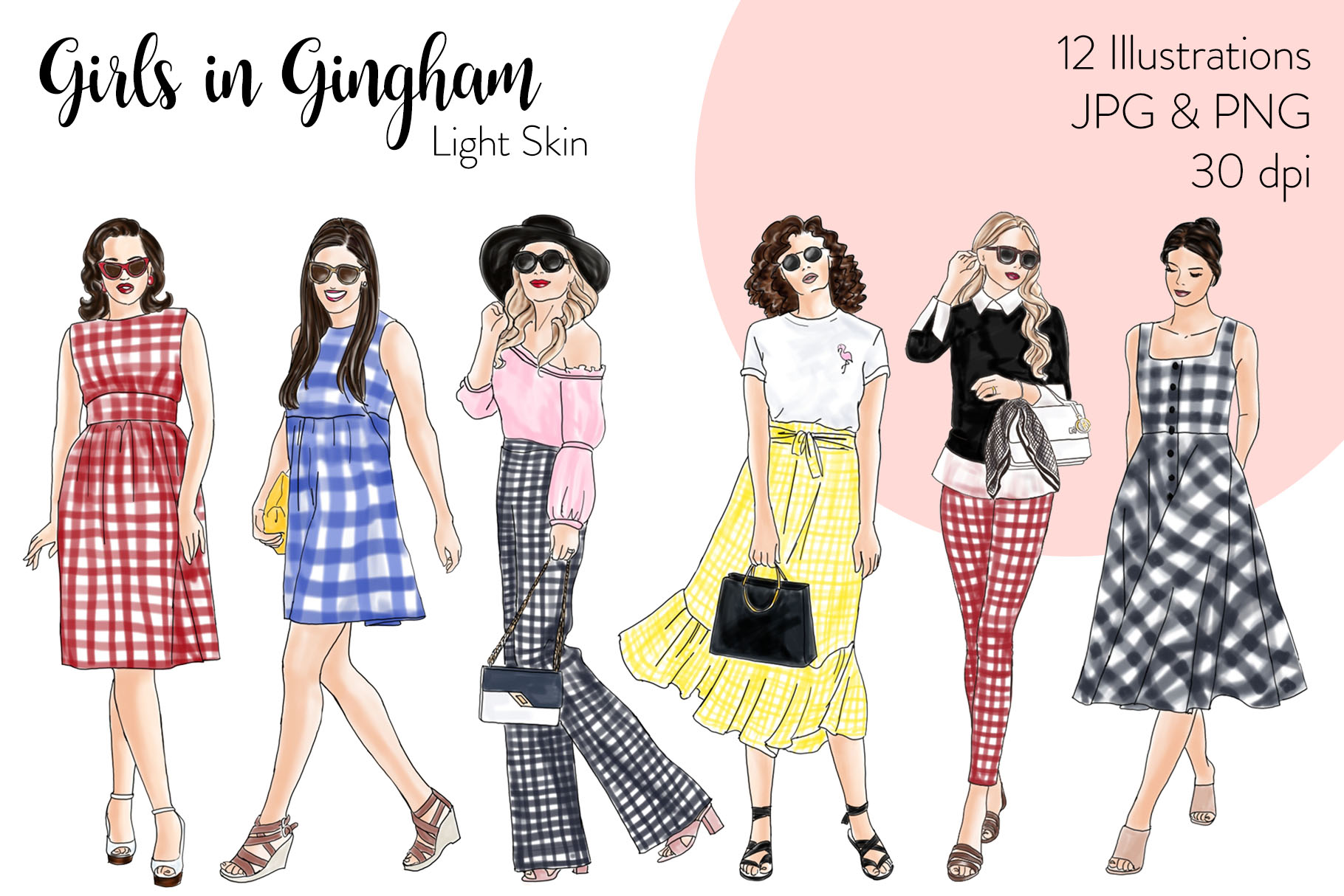 Fashion illustration clipart - Girls in Gingham - Light Skin example image 1