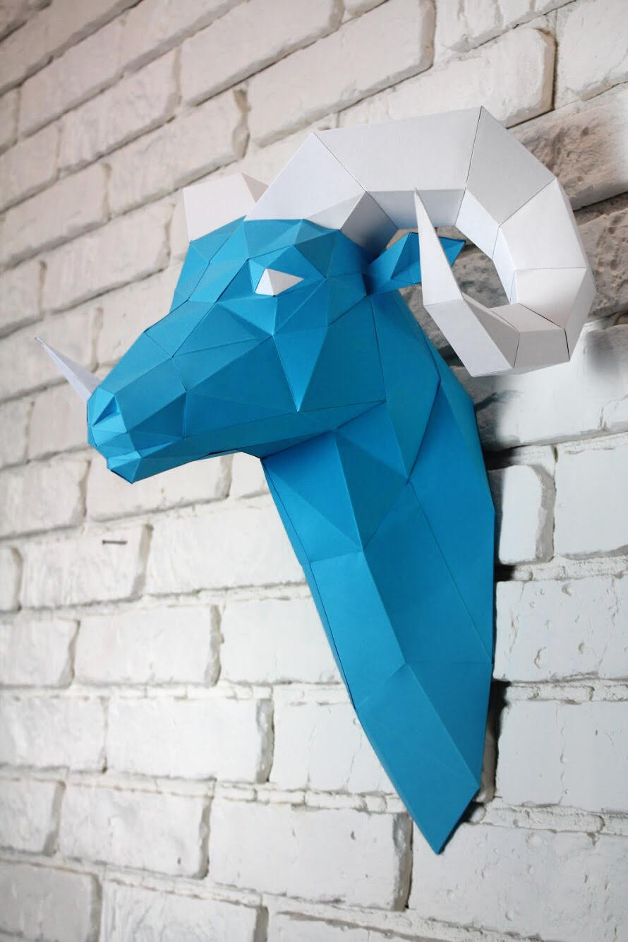 Diy Paper Sculpture - Ram Head, Paper Trophy, Animal Trophy, Loft Decor, Wall Decor, 3D papercraft model, animal head, lowpoly paper, DIY example image 6