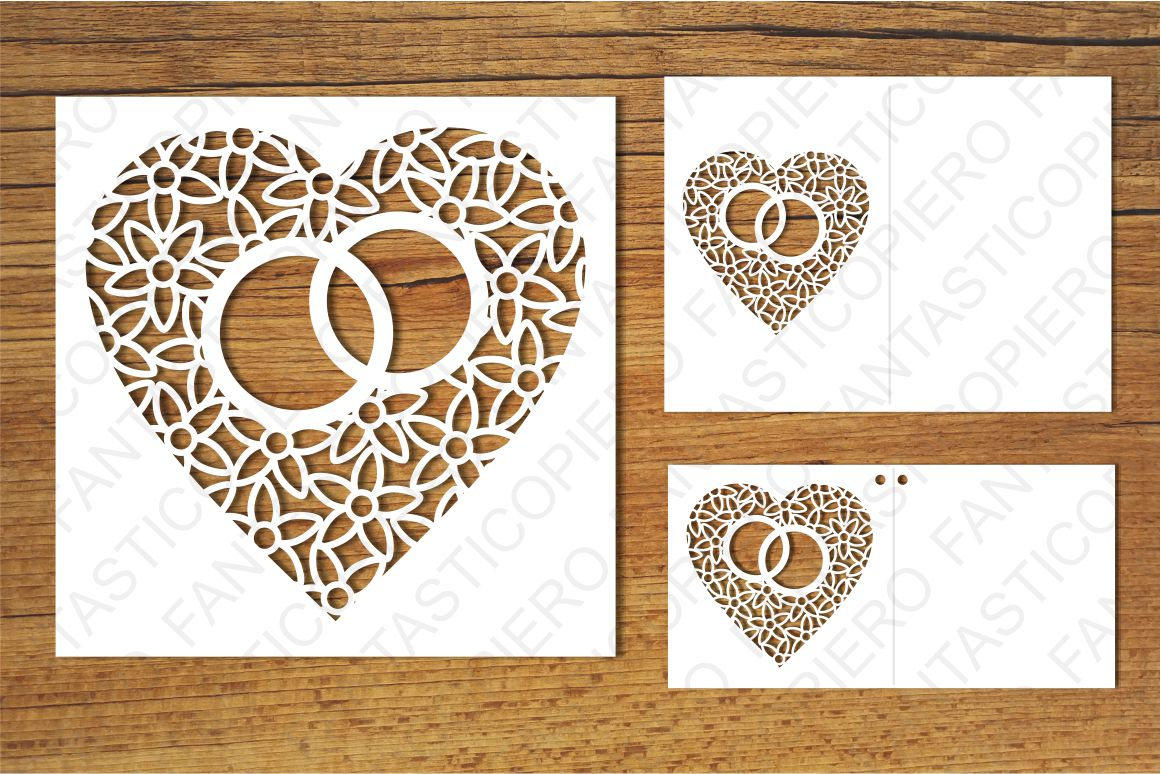 Heart with wedding rings SVG files for Silhouette and Cricut example image 2