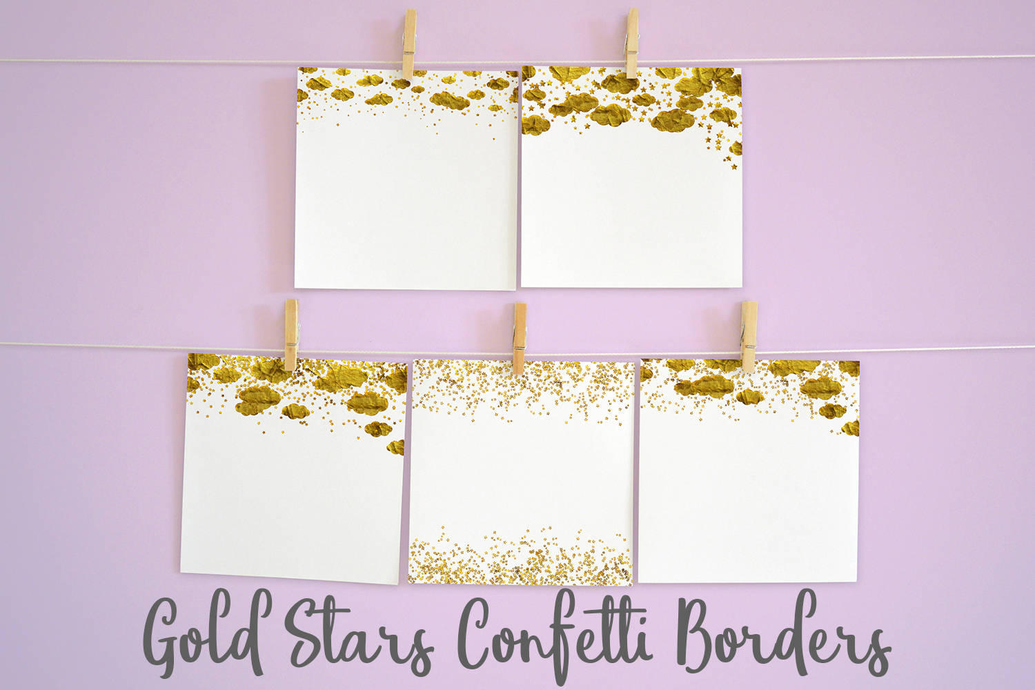 Gold Stars Confetti Borders Pack example image 2