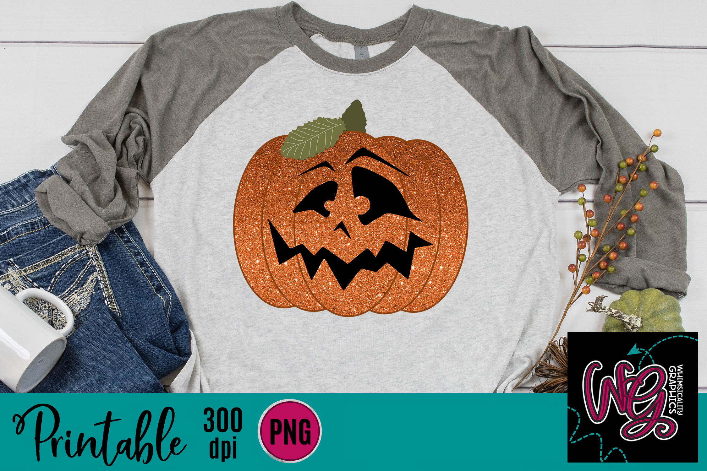 Glitter Pumpkin Jack O Lantern Sublimation Printable example image 1