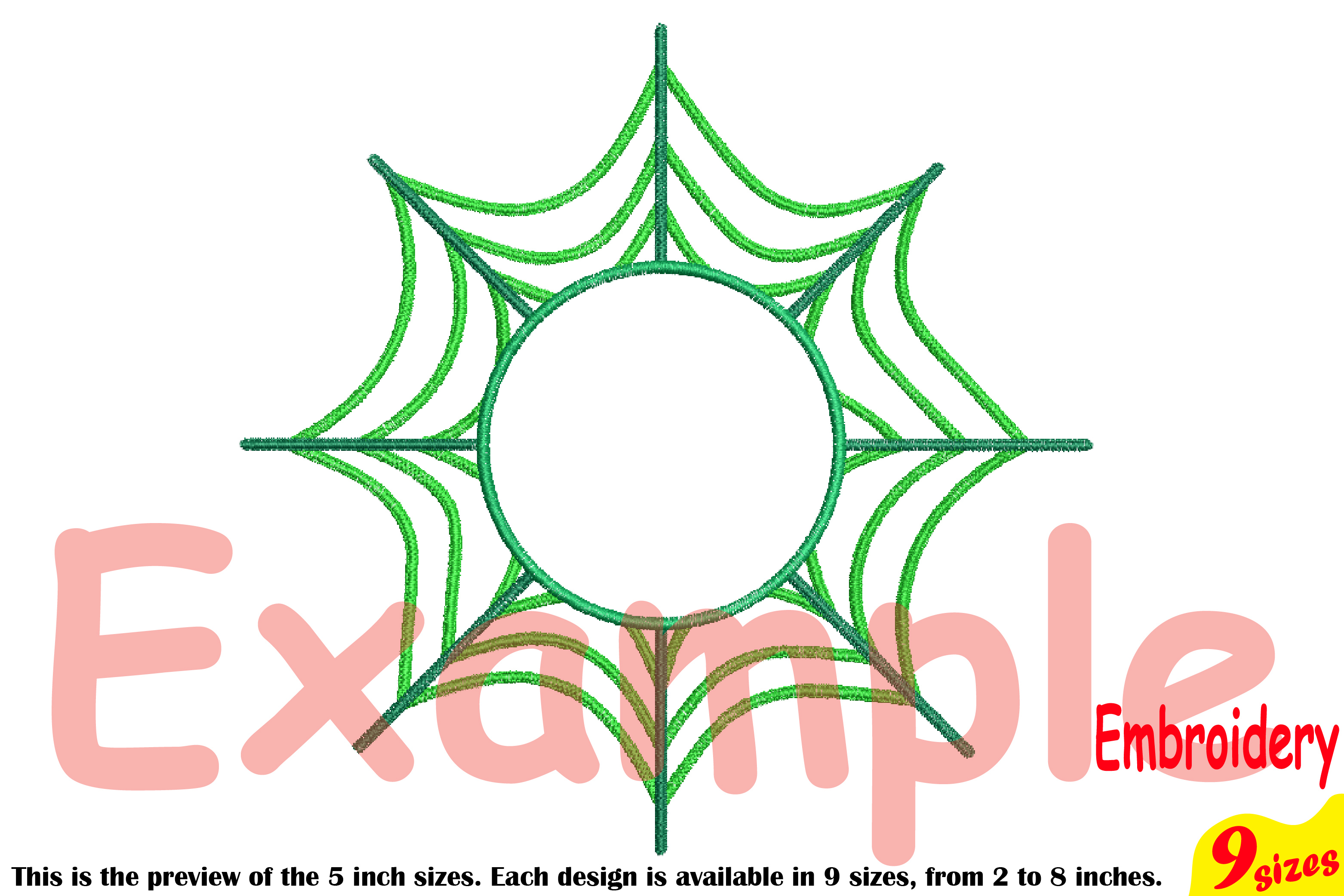 Spider Web Circle Embroidery Design Machine Instant Download Commercial Use digital Outline Frame Halloween Spiderweb 208b example image 3