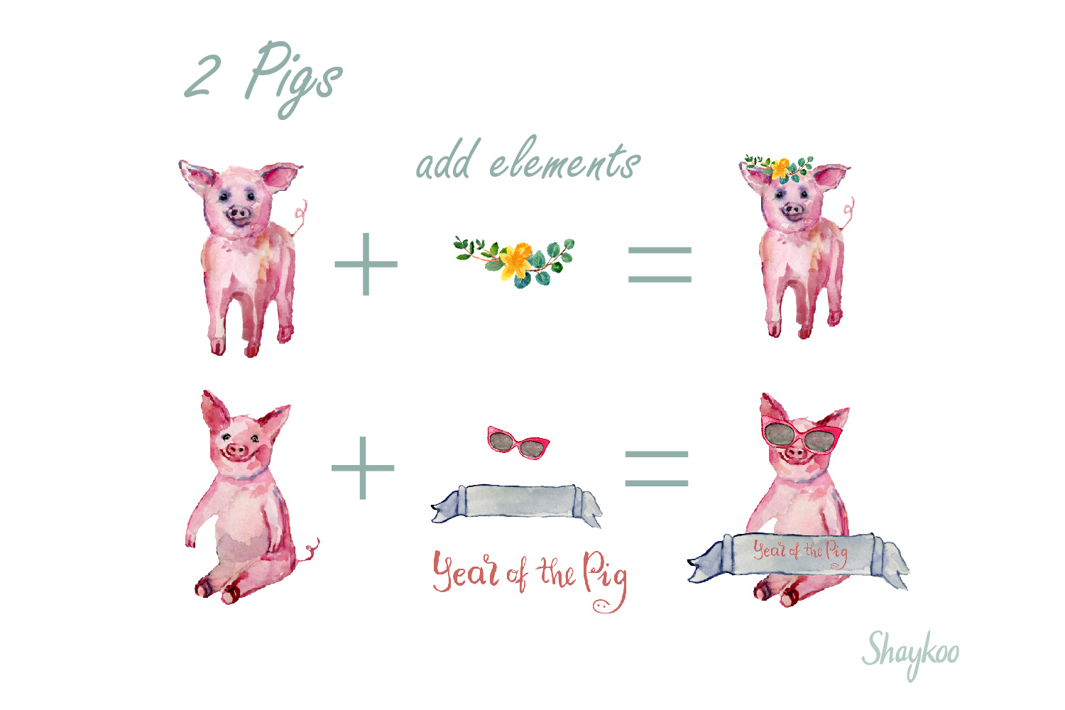 Year of the Pig Clipart, Chinese Year Watercolor Clipart example image 3