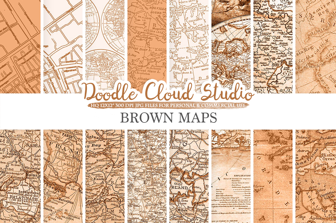 Brown Vintage Maps digital paper, Old World Map, City Map, Nautical Maps, geographic map textures Instant Download Personal & Commercial Use example image 1