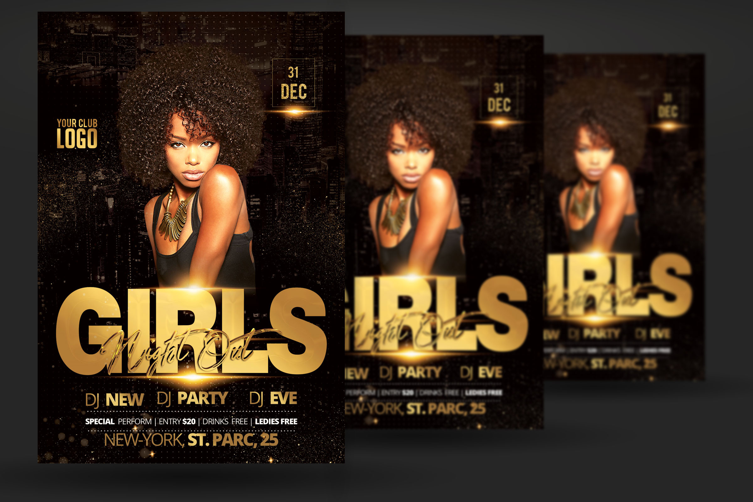 Girls Night Out Party Flyer example image 2