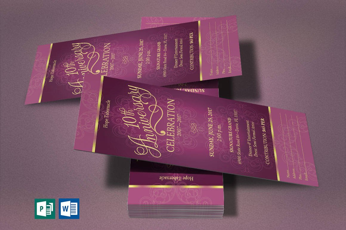 Church Anniversary Publisher Word Ticket Bundle example image 4