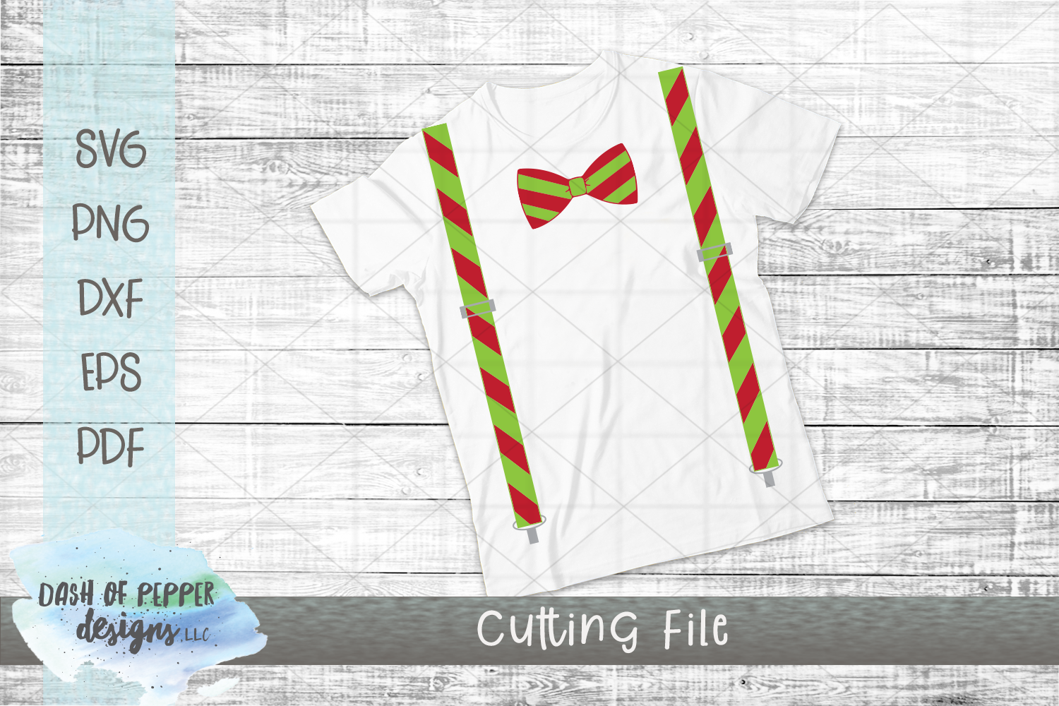 Christmas Suspenders & Bow Tie SVG - Christmas SVG example image 2