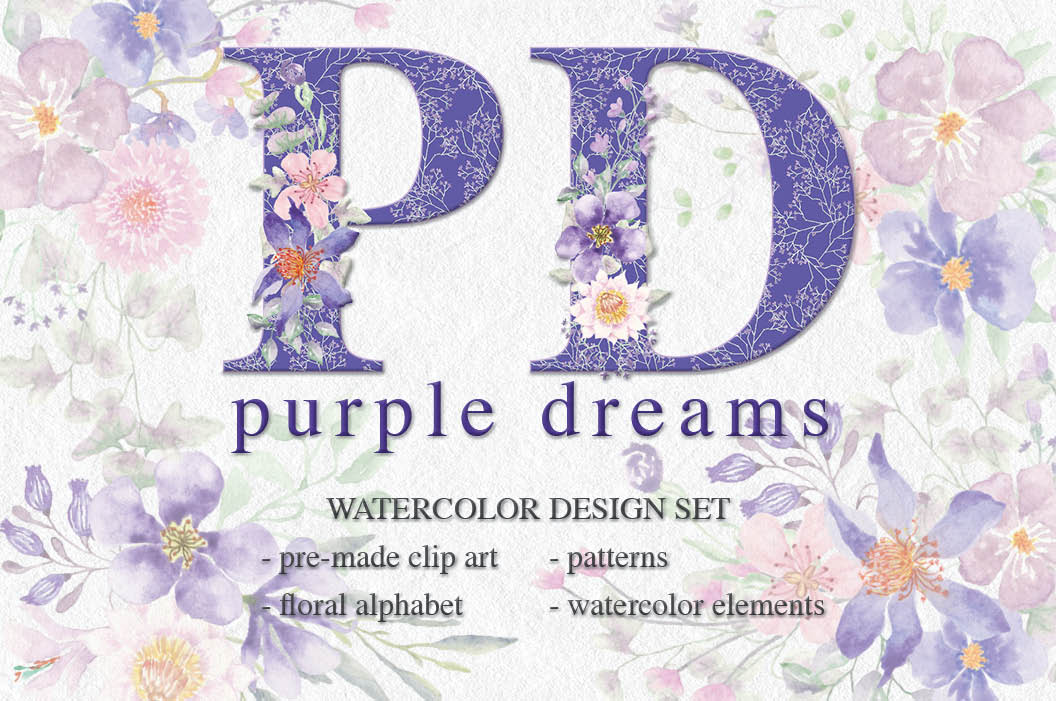 Purple Dreams watercolor design set example image 1