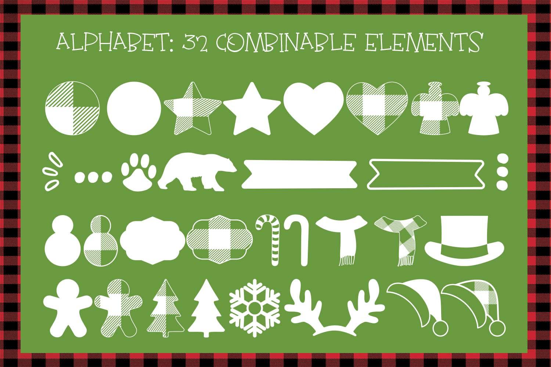 Lumberjack dingbat font, Combinable Christmas elements example image 2