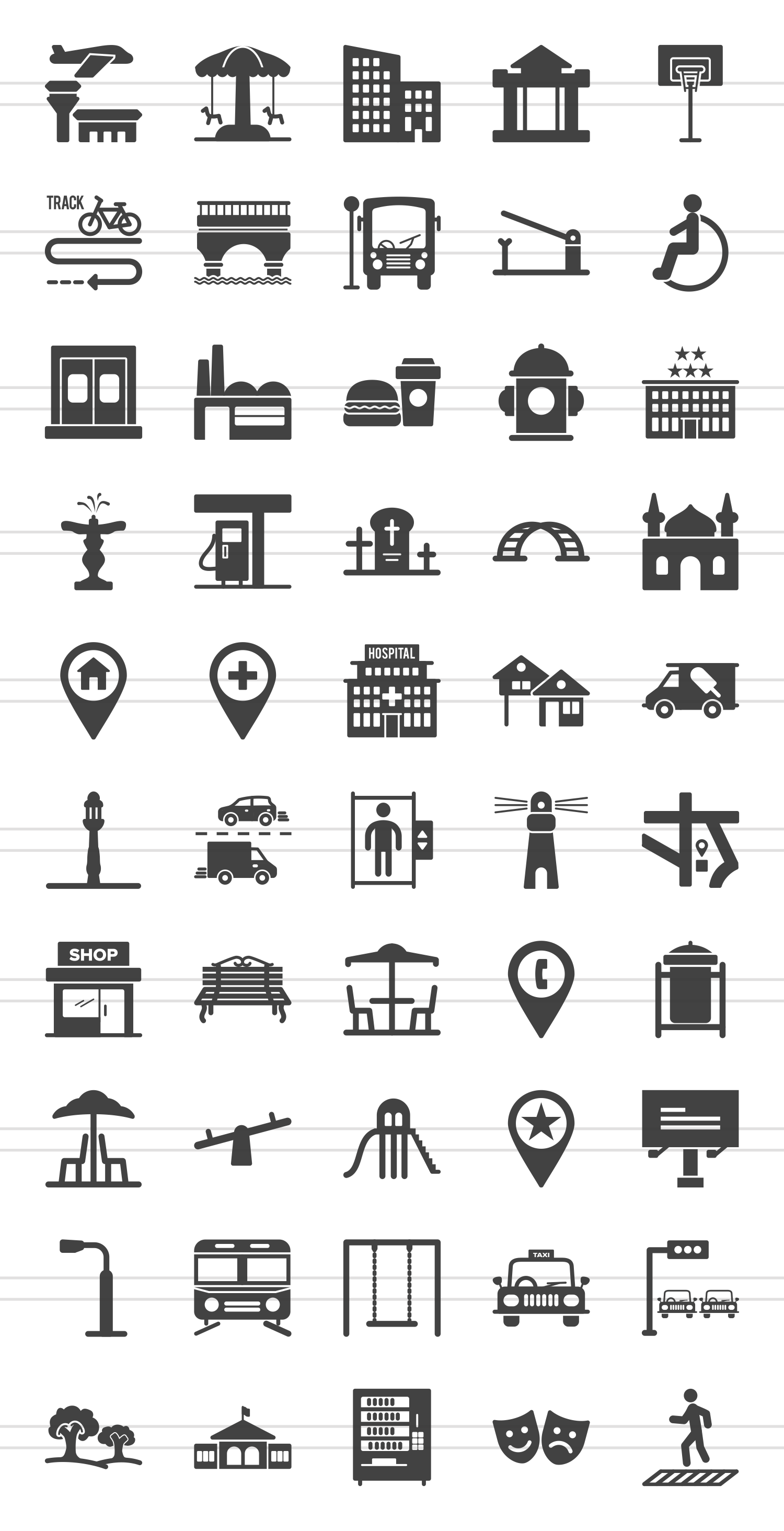 50 Town Glyph Icons example image 2