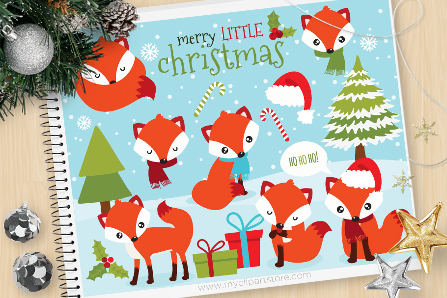 Red fox, Winter, Christmas Clipart - Vector Clip Art & SVG example image 1