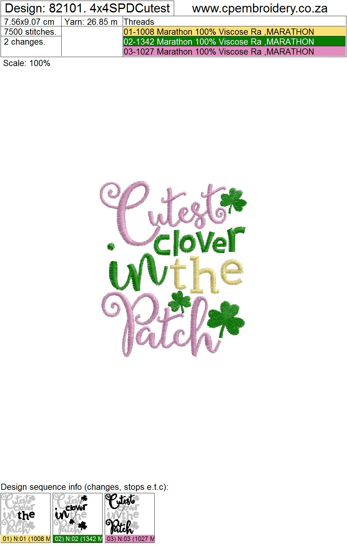 Cutest Clover in the Patch St Patrick's Day Design example image 3