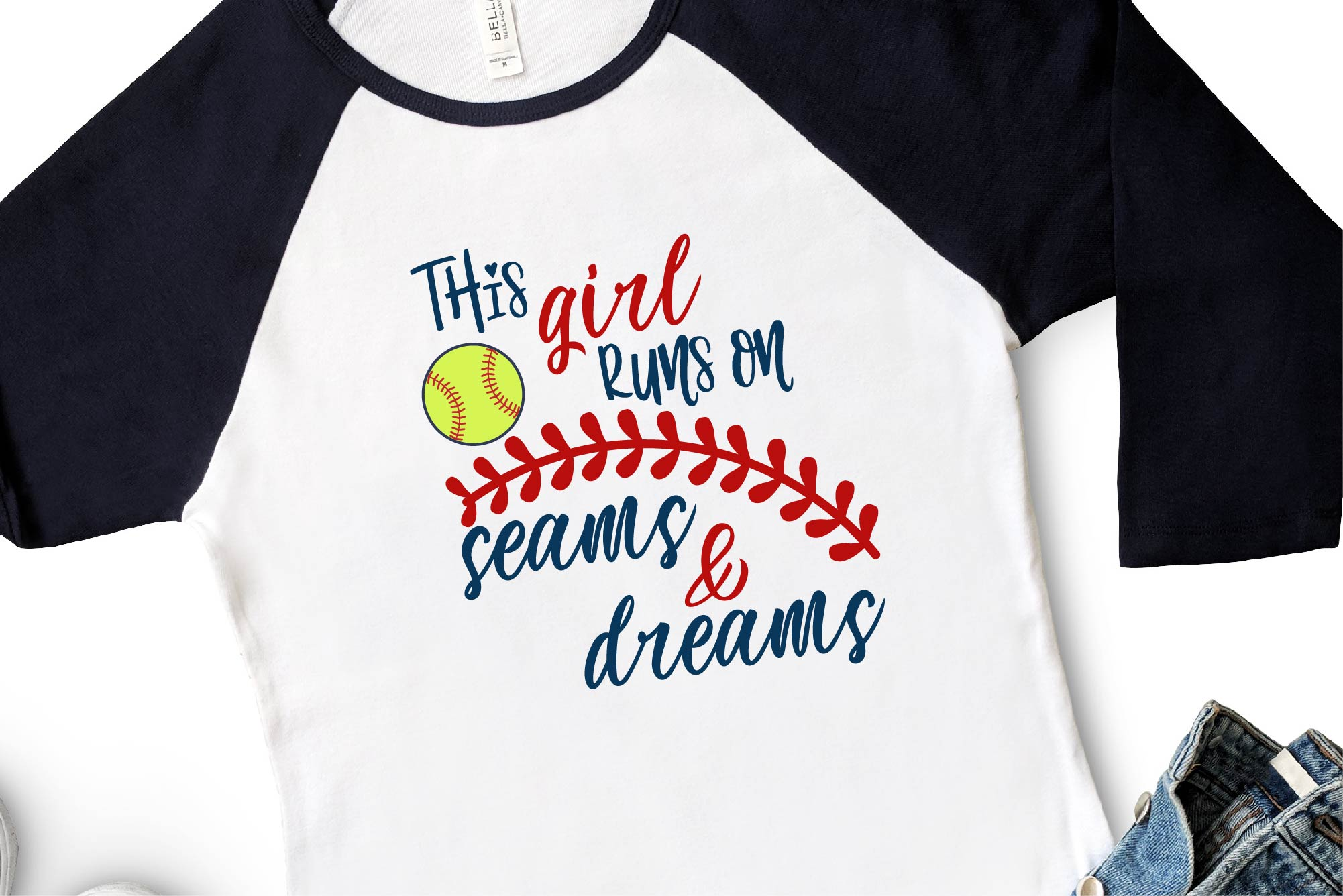 Softball SVG, This Girl Runs On Seams And Dreams, Girl Power example image 1