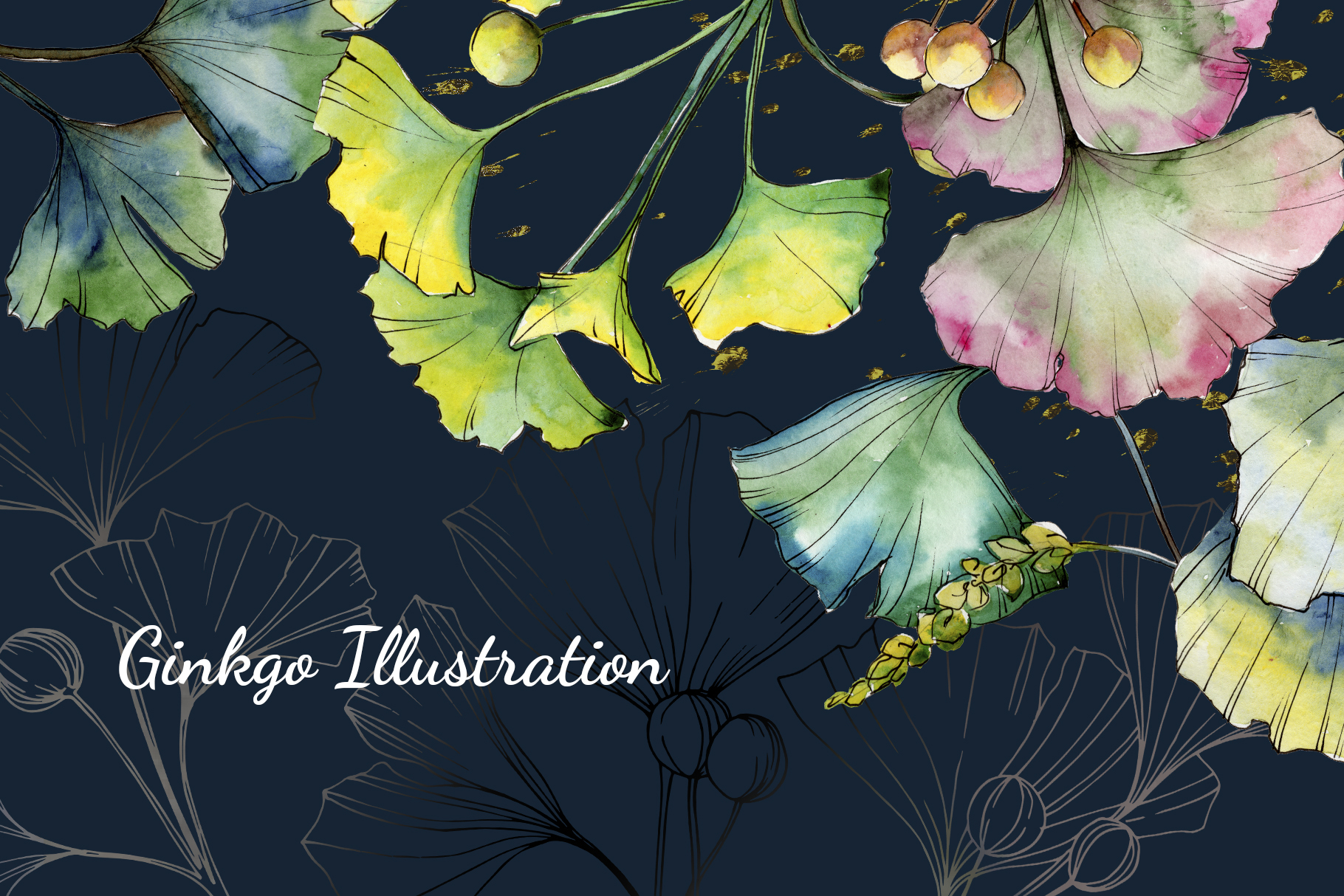 Green Ginkgo leaves Watercolor and Vector clipart png example image 7