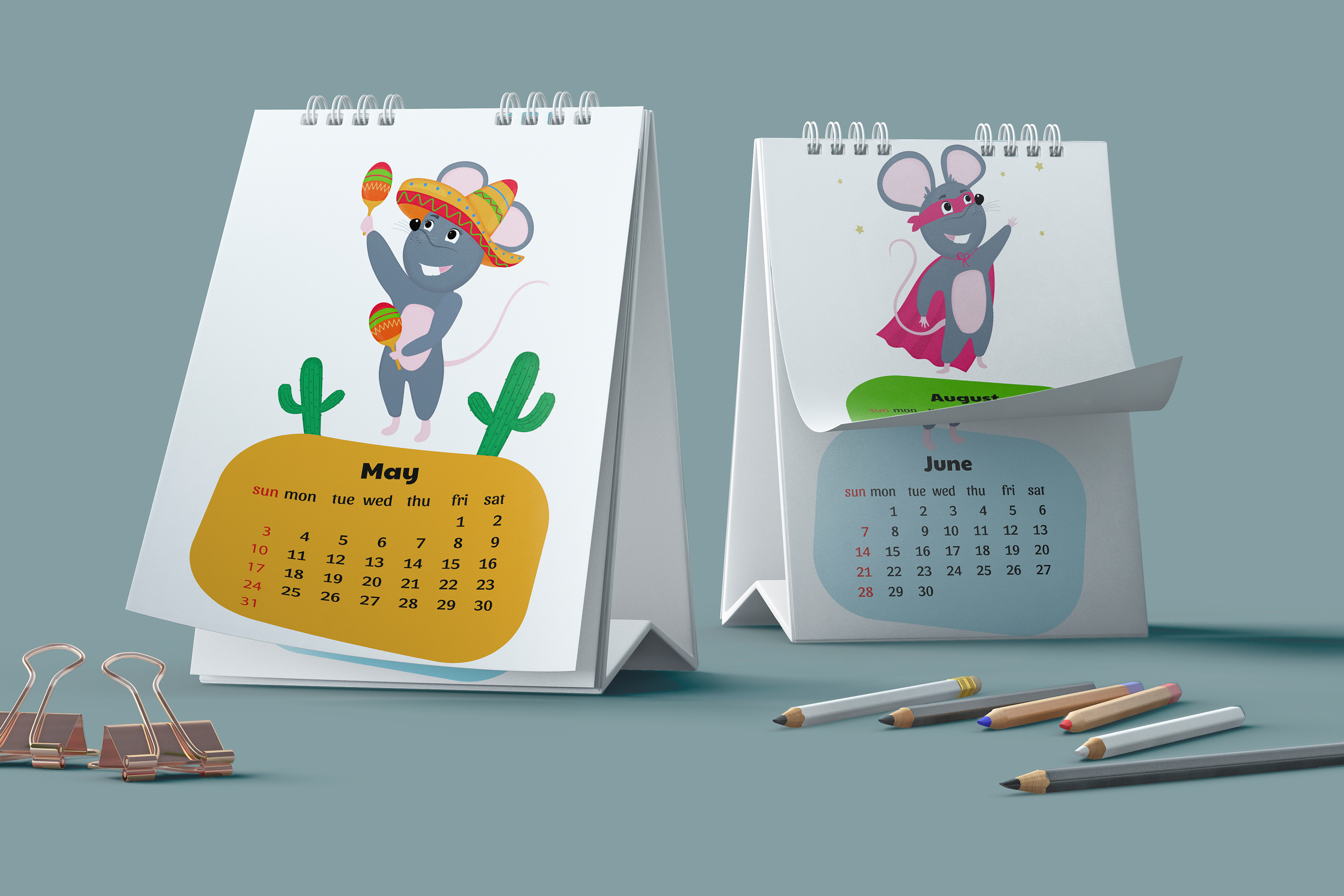 Funny mouse. Cute rats. Wall and desk calendars for 2020 example image 2