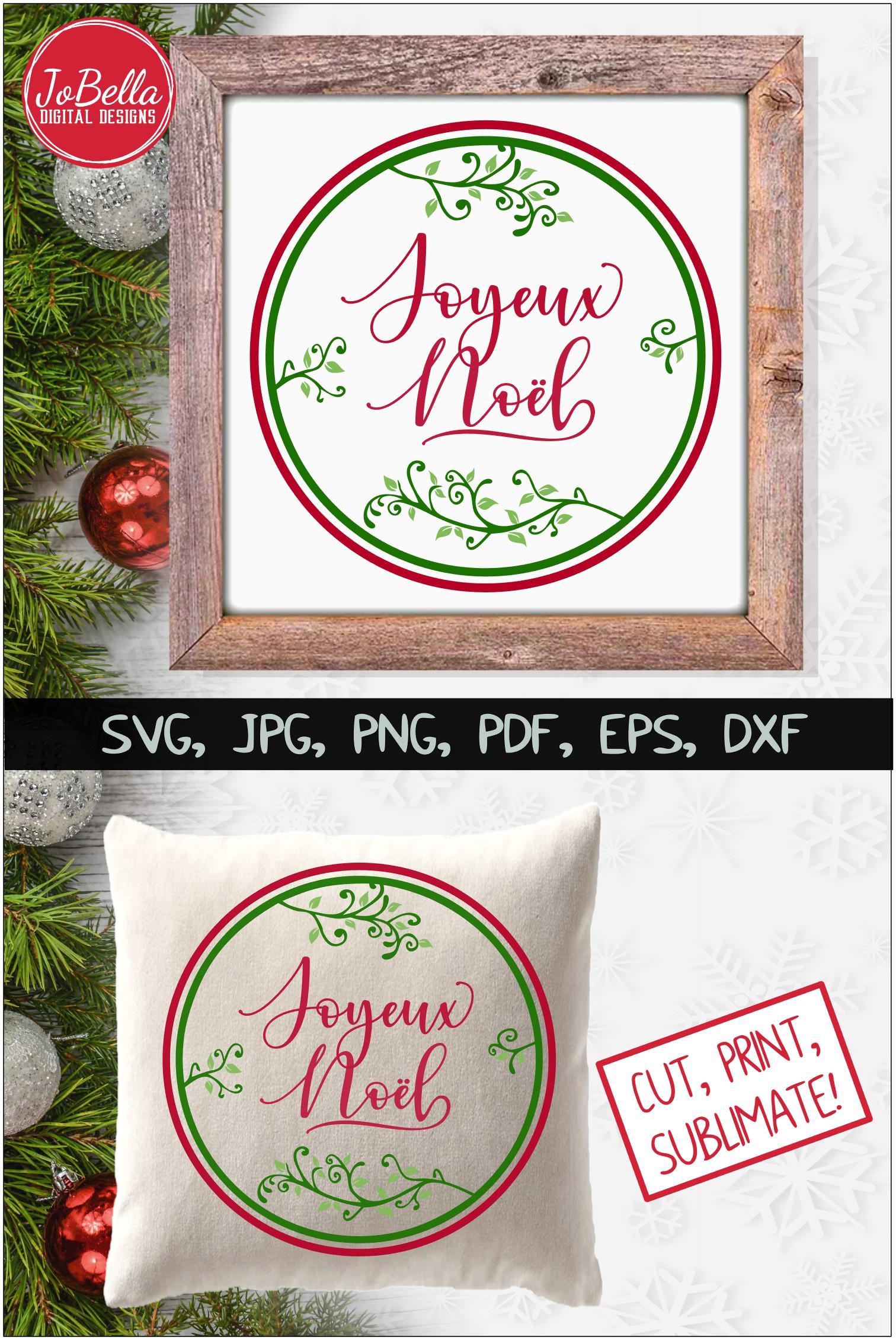 Joyeux Noel SVG Printable & Sublimation PNG example image 4